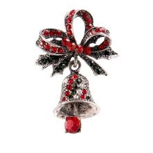 -Cute Rhinestone Bell Brooches For Women Trendy Christmas Creative Pins Bow Accessories Dress Coat Jewelry Creative Gift Bowknot on JD