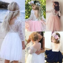 -Canis Fashion Kids Baby Girls Lace Tulle Backless Party Bridesmaid Pageant Dress on JD