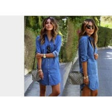 -Women Denim Blue Jeans Dress Pocket Button Long Sleeve Shirt Loose Mini Dresses on JD