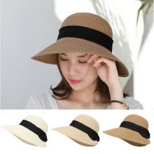-Women Girl Summer Wide Brim Straw Hat Beach Hat Sun Hat Floppy Fold Straw Casual on JD