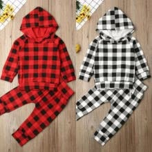 -US Newborn Baby Boy Girl Clothes Plaids Hooded Tops Shirt Long Pants Outfits Set on JD