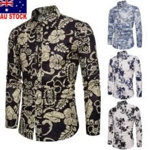 -AU Men Long Sleeve Button Collar Floral Vintage Casual Dress Slim Fit Shirt Tops on JD