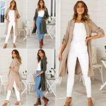 -Fashion Women Long Sleeve Solid Slim Long Cardigan Open Front Casual Outwear Wind Coat Jacket on JD