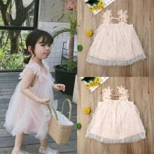 -Summer Toddler Baby Girl Sleeveless Cotton Casual Party Kid Dress Tulle Sundress on JD