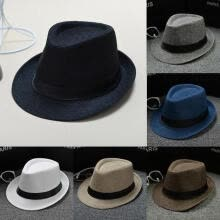 -New Classic Mens Women Straw Fedora Hat Wide Brim Panama Hat Summer Dress Hat on JD