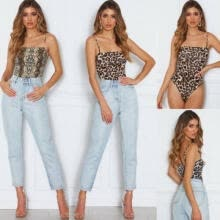 -UK Seller Women Sleeveless Leopard Stretch Bodysuit Backless Romper Top Blouse on JD