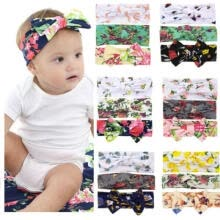 -3Pcs Baby Girls Bow knot Elastic Headband Turban Toddler Kids Hair Band Headwrap on JD