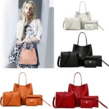 -4pcs Women Leather Handbag Lady Shoulder Bag Tote Purse Messenger Satchel Set on JD