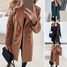 -Womens Winter Trench Coat Ladies Double Breasted Long Jacket Plus Size Overcoat on JD
