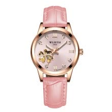 -Trend lady mechanical watch luminous waterproof leather strap female student watch on JD