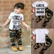 -Newborn Toddler Kids Baby Boys Outfits T-shirt Tops+Camouflage Pant 2pcs Clothes on JD