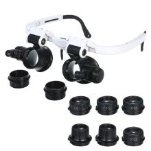 -Magnifier Glasses LED Magnifying Head Mount Magnifier Interchangeable Loupe 4 Replaceable Lenses 7X/10X/15X/25X on JD