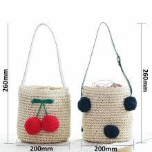 -Fashionable Cute Black Hair ball Weave Bag Vacationing Beach Summer Paper Strings Shoulder Bags Beautiful and Elegant Well Design on JD