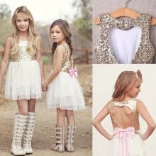 -Kids Sequins Baby Flower Girl Dress Bow Backless Party Gown Bridesmaid Dresses on JD