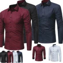 -Men's Luxury Shirt Slim Business Formal Fit Dress Shirts Casual Long Sleeve Tops on JD