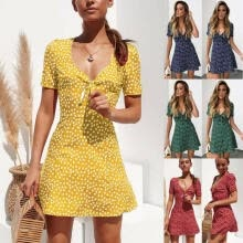 -Women Summer Vintage Boho Maxi V-neck Short Sleeve Mini Dress Casual Floral Sundress Evening Party Beach on JD