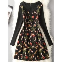 -Vintage Floral Print Long Sleeve Dress on JD