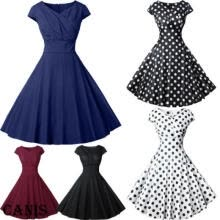 -Womens Ladies 50s Style Vintage Mesh Rockabilly Evening Party Retro Swing Dress on JD