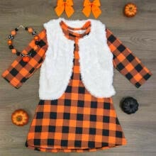 -Long Sleeved Cotton Baby Kid Girl Dress Checked Party Princess Casual Dresses US on JD