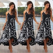-Women Summer Boho Chiffon Party Evening Beach Dresses Long Maxi Dress Sundress S on JD