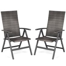 -2 pcs Rattan Folding Reclining Outdoor Wicker Portable Chairs on JD