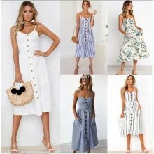 -Women's Summer Boho Casual Long Maxi Evening Party Cocktail Beach Dress Sundress on JD