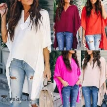 -Fashion Womens Summer V Neck Blouses Loose Baggy Tops Tunic T Shirts Plus Size on JD