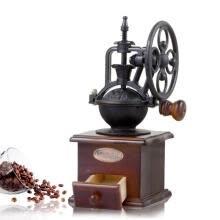 -Retro Steel Wooden Coffee Bean Mill Wheel Design Hand Coffee Grinding Machine on JD