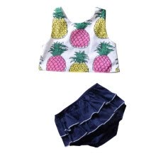 -Toddler Baby Set Girls  Pineapple Printed Tank Top With Layered Lace Shorts 2 Pieces Set Summer Style Navy Blue on JD