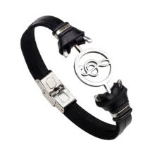 -Retro Trend Men Musical Symbol Stainless Steel Weaving Cowhide Leather Bracelet Fashion Pair Bracelet Jewellery on JD