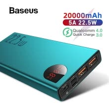 -Baseus SCP+ Adaman Metal Digital Display Quick Charge 20000mAh Power Bank for iPhone 11/Huawei/Samsung/Xiaomi with QC3.0+PD3.0 on JD