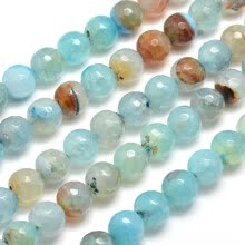 -Dyed Natural Agate Faceted Round Beads Strands, PaleTurquoise, 10mm, Hole: 1mm; about 38pcs/strand, 15' on JD