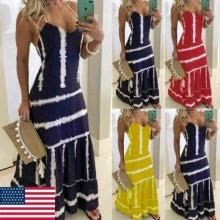 -Women Maxi Dress U Neck Sleeveless Long Solid Ladies Summer Casual Sundress US on JD