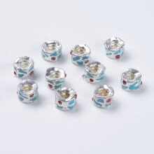 -Alloy European Stopper Beads, Enamel, with Rhinestones, Antique Silver Color, Column, Size: about 7mm long, 10mm wide, 7mm thick on JD