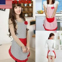-New Cute Vintage Flirty Womens Bowknot Kitchen Bib Apron Dress with Pocket Gift on JD