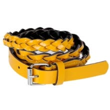 -Fashion Women Lady Braided Belt Candy Color Skinny Thin Weave Plaid Buckle Cross Belt PU Leather Orange on JD