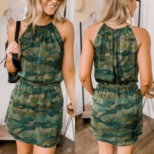 -Womens Casual Halter Camouflage Sleeveless Slim Pocket Sexy A-Line Mini Dresses on JD
