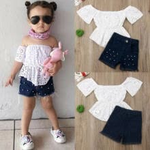 -US Toddler Kids Baby Girl Summer Tops T-shirt Denim Shorts 2Pcs Outfits Clothes on JD