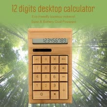 875065887-Eco-friendly Bamboo Electronic Calculator Counter Standard Function 12 Digits Solar & Battery Dual Powered for Home Office School on JD