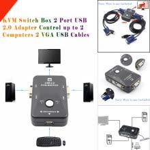 -〖Follure〗KVM Switch Box 2 Port USB 2.0 Adapter Control up to 2 Computers 2 VGA USB Cables on JD