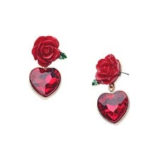 -1 Pair Red Rose Flower Red Crystal Heart Shaped Stud Earring on JD