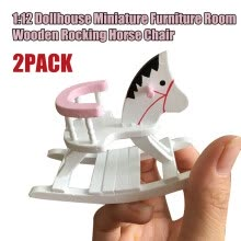 -〖Follure〗1:12 Dollhouse Miniature White Wooden Rocking Horse Chair Room Furniture 2Pack on JD