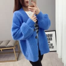 -Sweater Jacket Female Korean Version Of The Loose Simple Fashion Long Section Cardigan Was Thin V-Neck Single-Breasted on JD