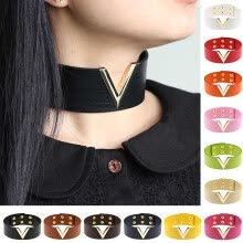-Visland Women Punk Gothic V Shape Faux Leather Collar Choker Necklace Jewelry Gifts on JD