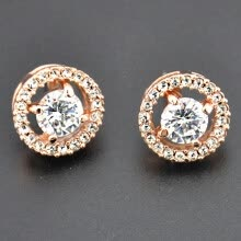 -18K Gold Round Cut White Topaz Diamond Silver Stud Earrings Wedding Party Jewelry Gifts Christmas Gift Novelty on JD