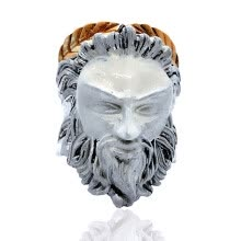 -925 Sterling Silver Classics 3D Jesus Christ Head Ring Vintage Gothic Punk Old Man Head Shape Ring on JD