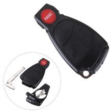 -Replacement Remote Keyless Key Fob Case Shell Cover Blade for Mercedes Benzs 3 Button + Panic on JD