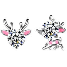 -Fashion Brincos Christmas Present Gift 925 Sterling Silver Earrings Fashion Jewelry Mini Small Cute Pink Fawn Elk Asymmetrical on JD
