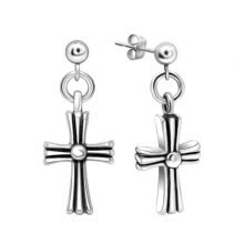 875062454-Fashion Men's Stud Earrings Titanium Stainless Cross Jewelry on JD