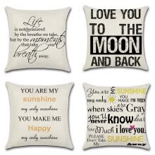 8750203-Cotton Linen You Are My Sunshine Decorative Pillowcase Throw Pillow Cushion Cover Square 18' * 18' Home Life on JD